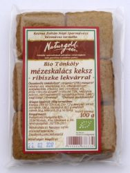Bio tönköly mézeskalács keksz ribiszke lekvárral 100 g Naturgold