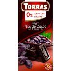 Étcsokoládé kakaóbabtörettel hozzáadott cukor nélkül 75 g Torras