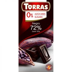 Étcsokoládé 72%-os kakaótartalommal hozzáadott cukor nélkül 75 g Torras